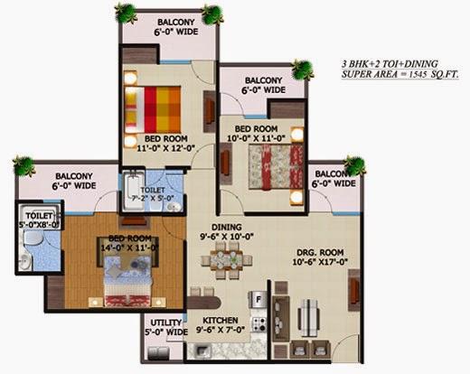 Ecovillage Noida Extension :: Floor Plans 3 BHK 1106 sqft