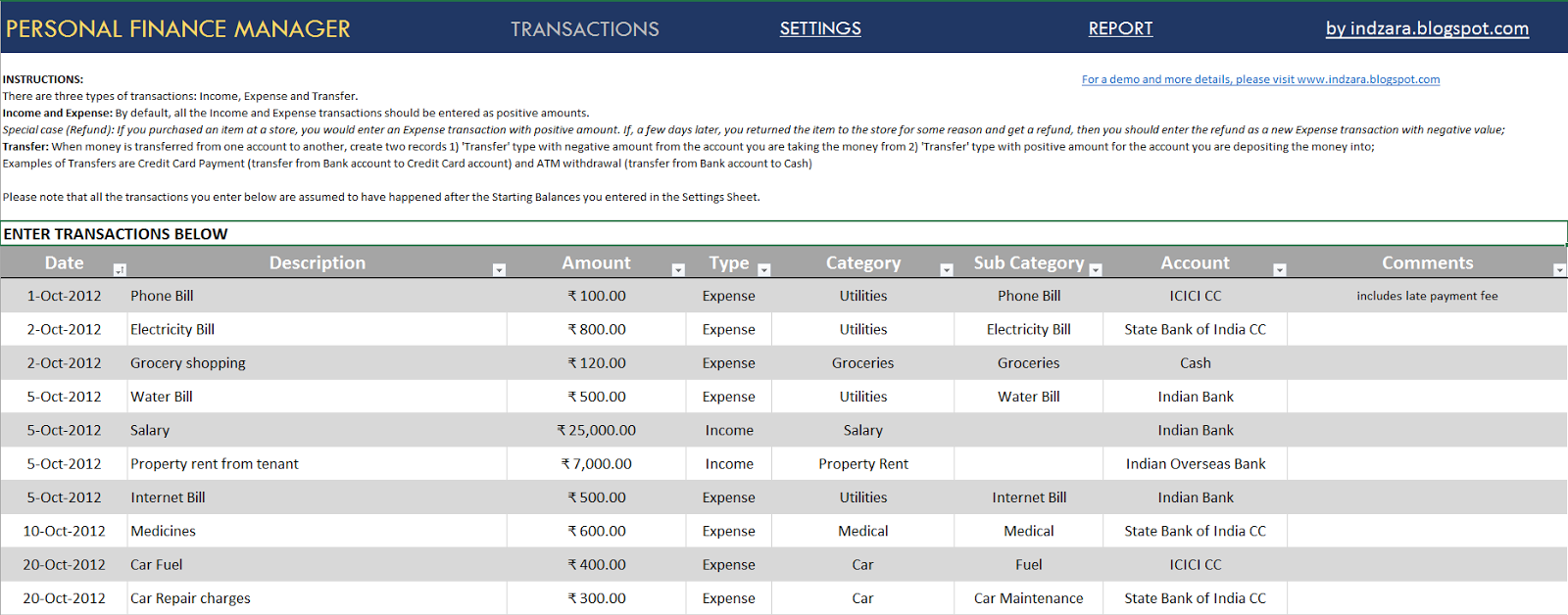 Personal Finance Manager Excel Template - Sample Transactions
