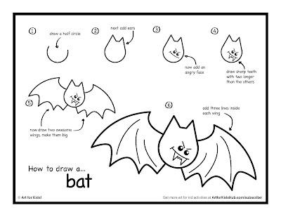 как нарисовать летучих мышей