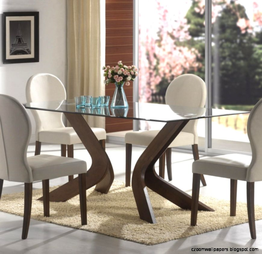 Square Dining Table Design With Glass Top Under Big White Canned