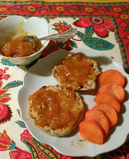 Plate of English Muffin with Persimmon Slices and Marmalade