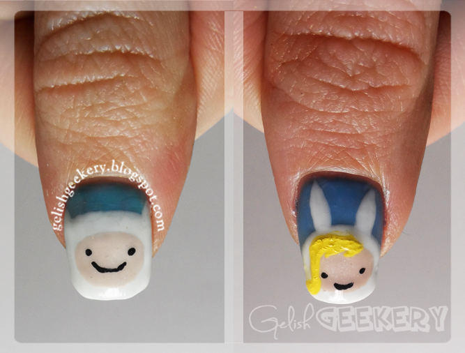 Gelish Adventure Time Finn and Fionna Nails