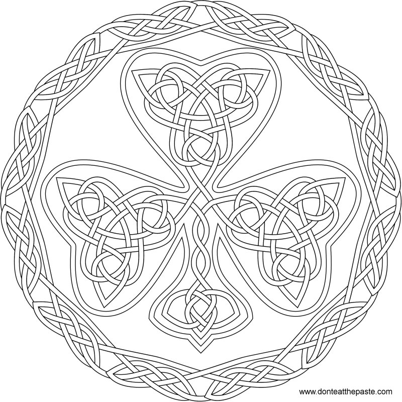 shamrock knotwork to color in jpg and transparent png format - Shamrock Coloring Page