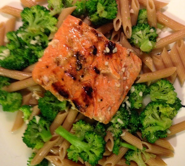 LEMON BUTTER SALMON AND BROCCOLI PENNE