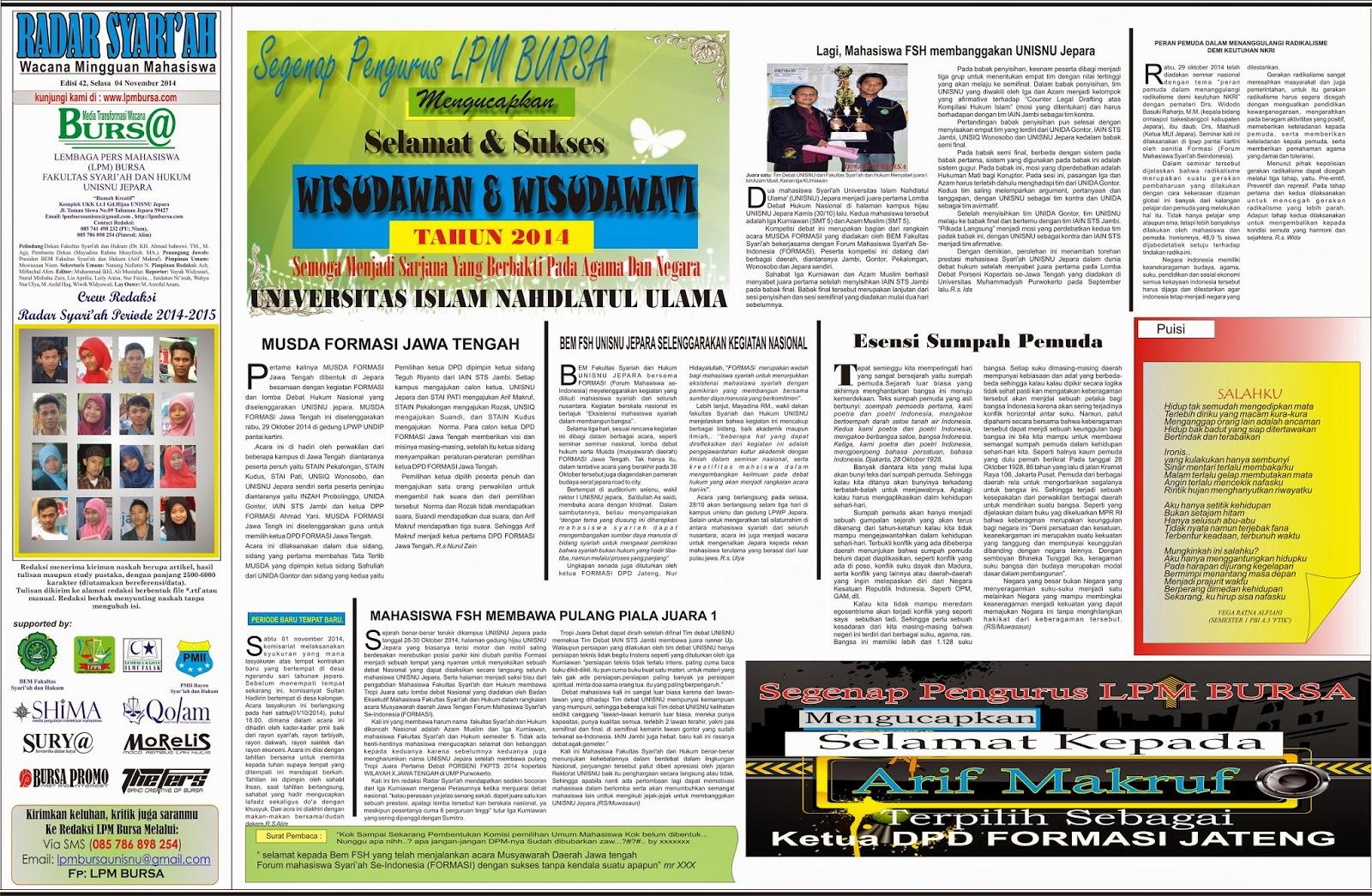 Radar Syari'ah edisi 42, berita, news, opini