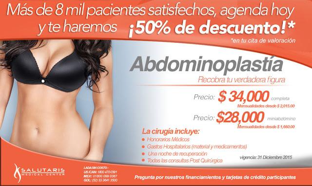 Precio cirugia plastica abdominoplastia o lipectomia Guadalajara