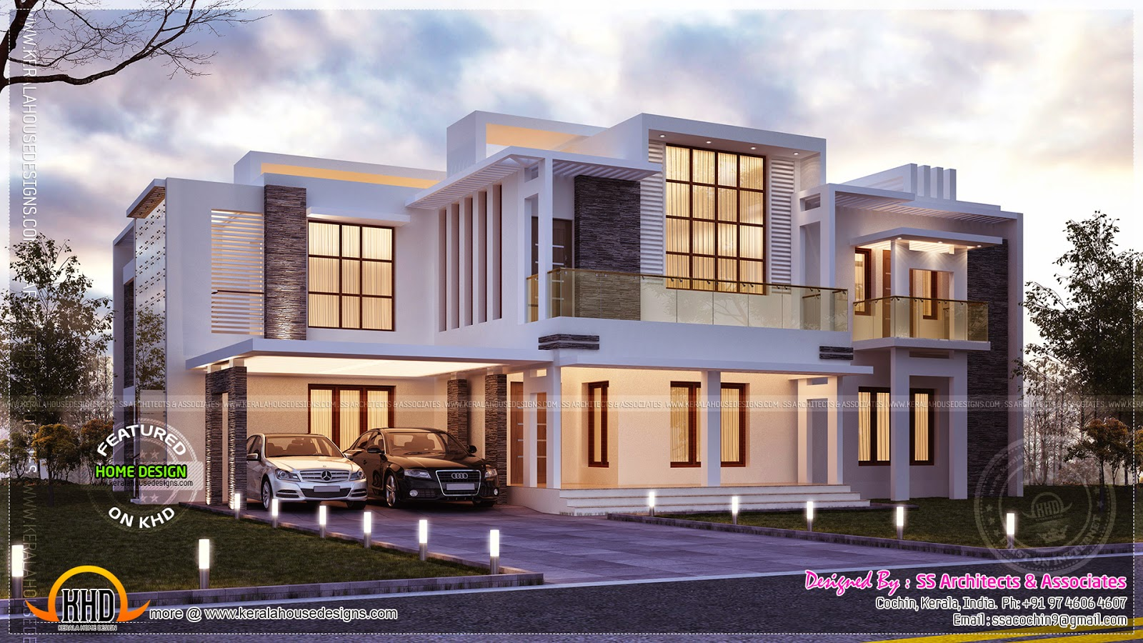 Contemporary night view villa kerala home design and for Modern house plans 5000 square feet