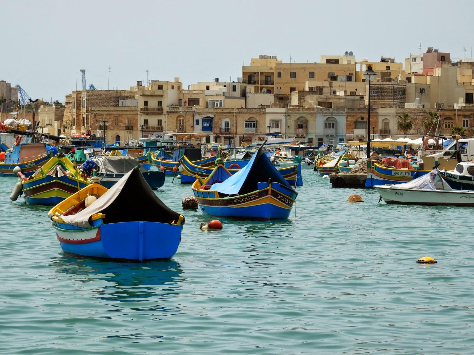 Traditional fishing boats at Marsaxlokk, Malta