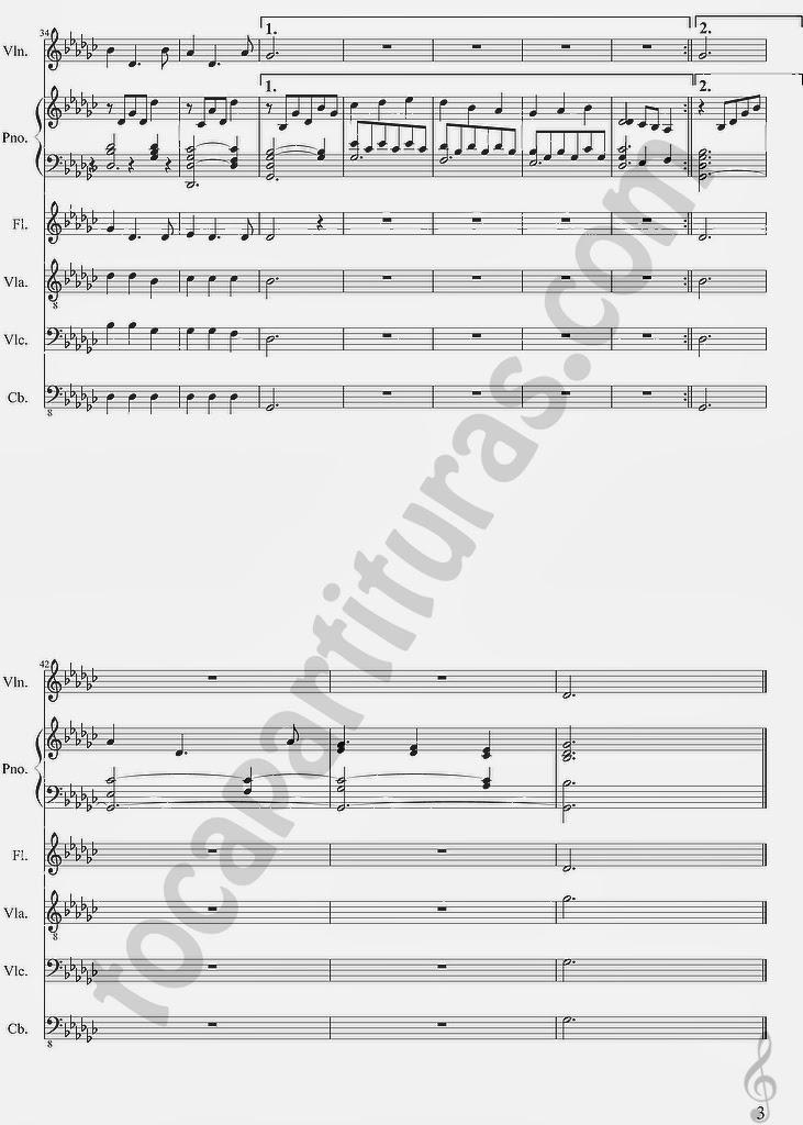 3 Candlelight Partitura en tono original para violinistas, violistas, flautistas, pianistas, cello, contrabajo y para tocar con tus amigos/as en un pequeño grupo de cuerda, flauta y piano