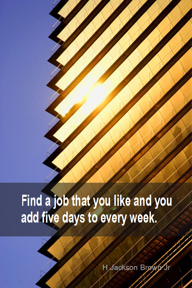 visual quote - image quotation for CAREER - Find a job that you like and you add five days to every week. - H Jackson Brown Jr
