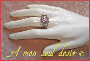Bague elfique végétale féerique florale cabochon cristal AB Aurore Boréale irisé muticolore Elven Fairy Ring