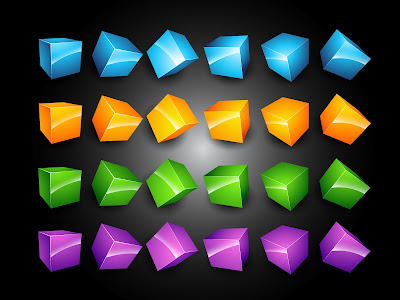 Collection of vector glossy cubes