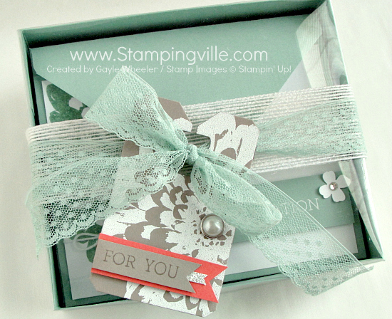 Gift Boxed Set of Greeting Cards featuring Stampin' Up! Definitely Dahlia background stamp
