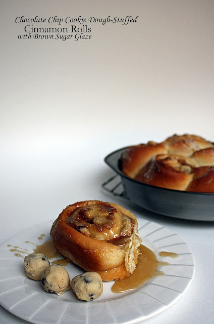 chocolate chip cookie dough-stuffed cinnamon rolls with brown sugar glaze