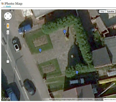 A Google Map snip of Cross Street, Monk Bretton, Barnsley showing three blue Google tabs in the memorial garden.