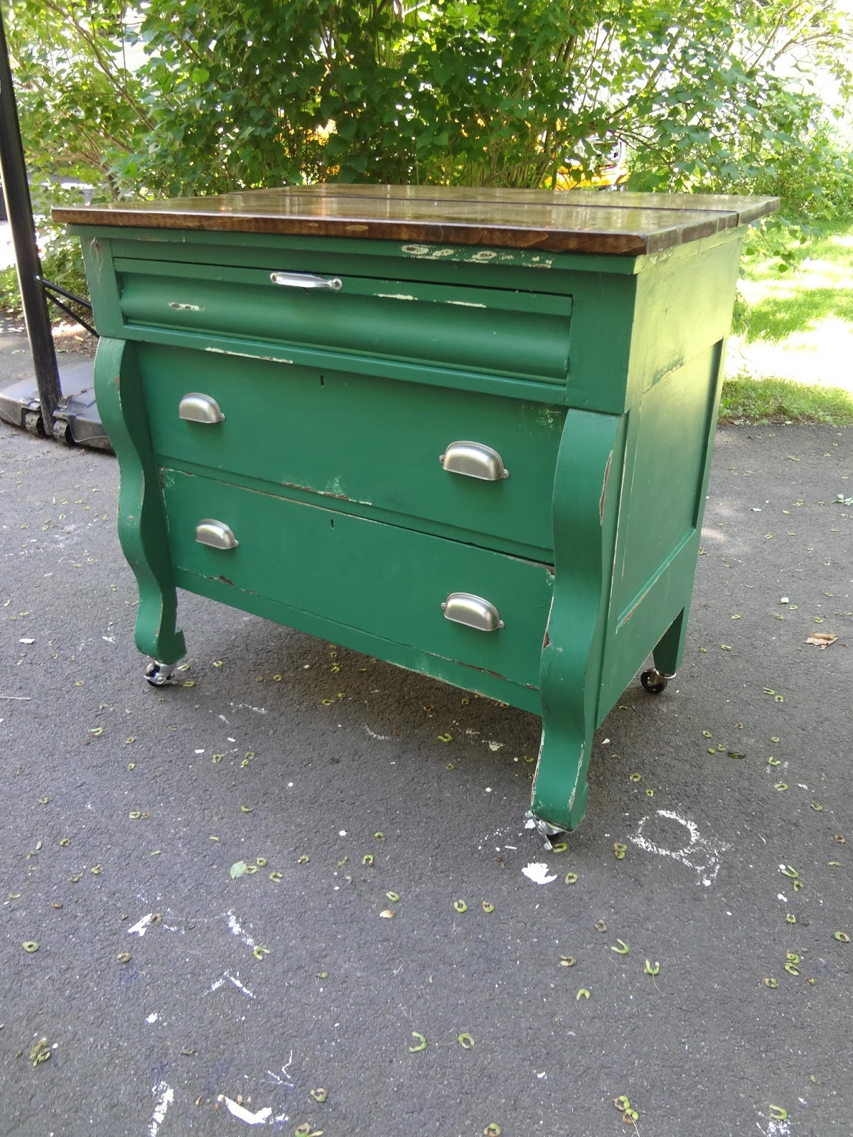 Heir and Space An Antique Green Kitchen Island