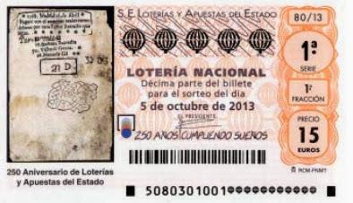 Décimos del sorteo del 250 aniversario de Loterías
