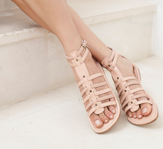 Nude leather sandals by BaliELF