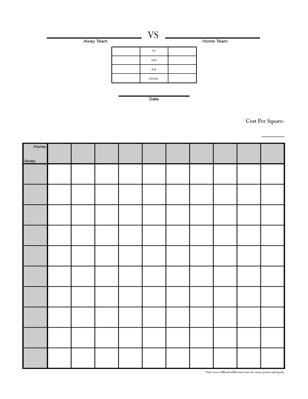Super Bowl Football Pool Sheets Templates