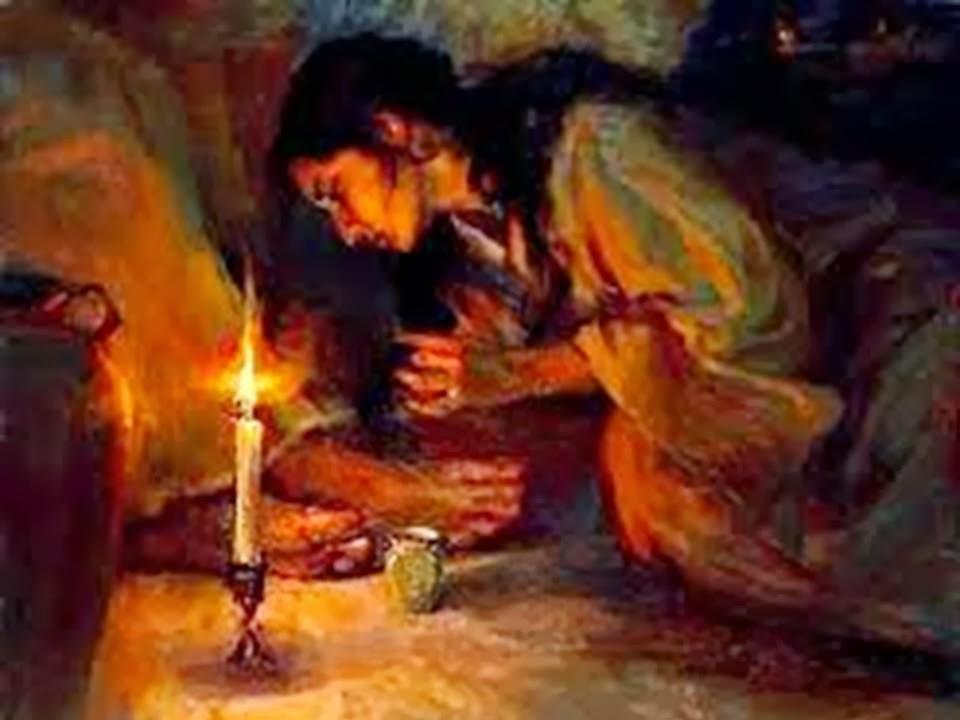En la imagen, Santa Maria de Betania ungiendo los pies de Jesus.