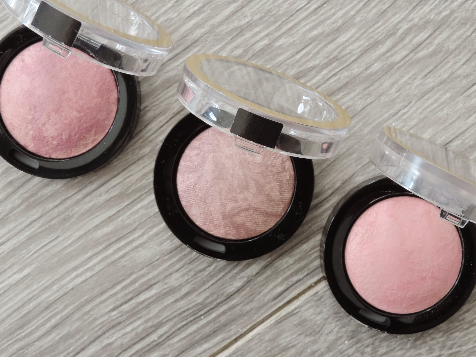 Max Factor Creme Puff Blushes (from left): Seductive Pink, Nude Mauve, Lovely Pink