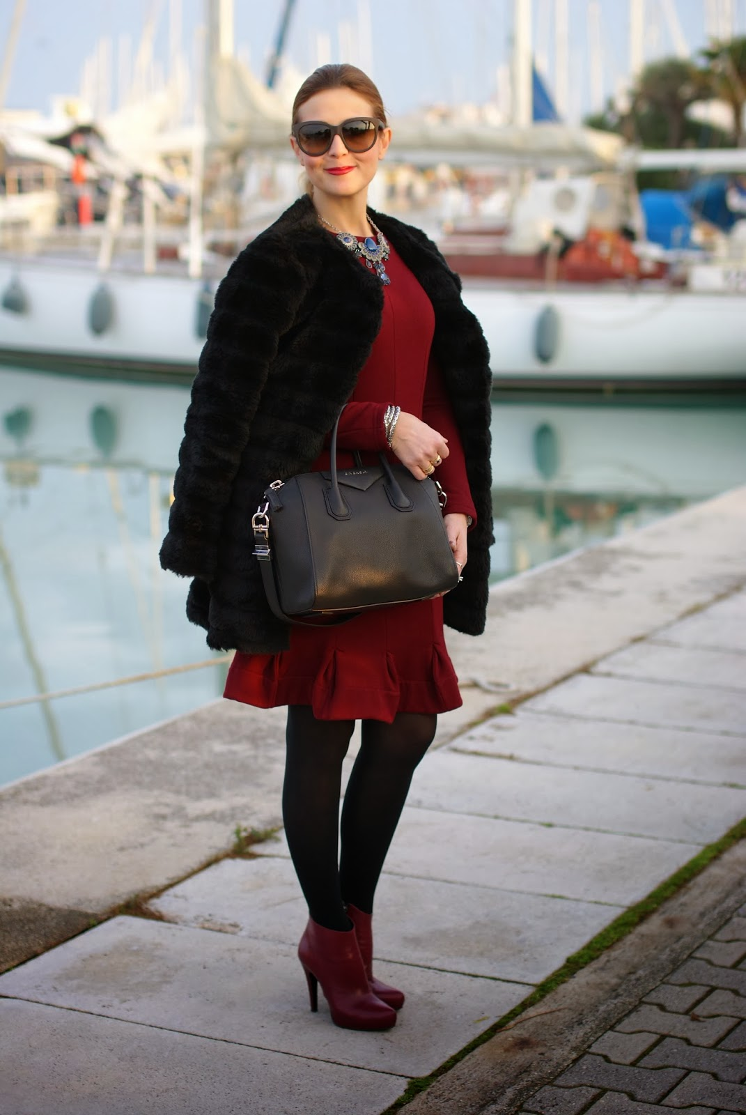black faux fur, Carven burgundy dress, Icone ankle boots, Fashion and Cookies, fashion blogger