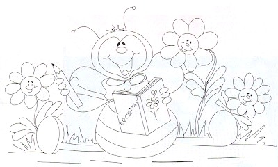 Riscos para pintura em tecido de joaninha e flores