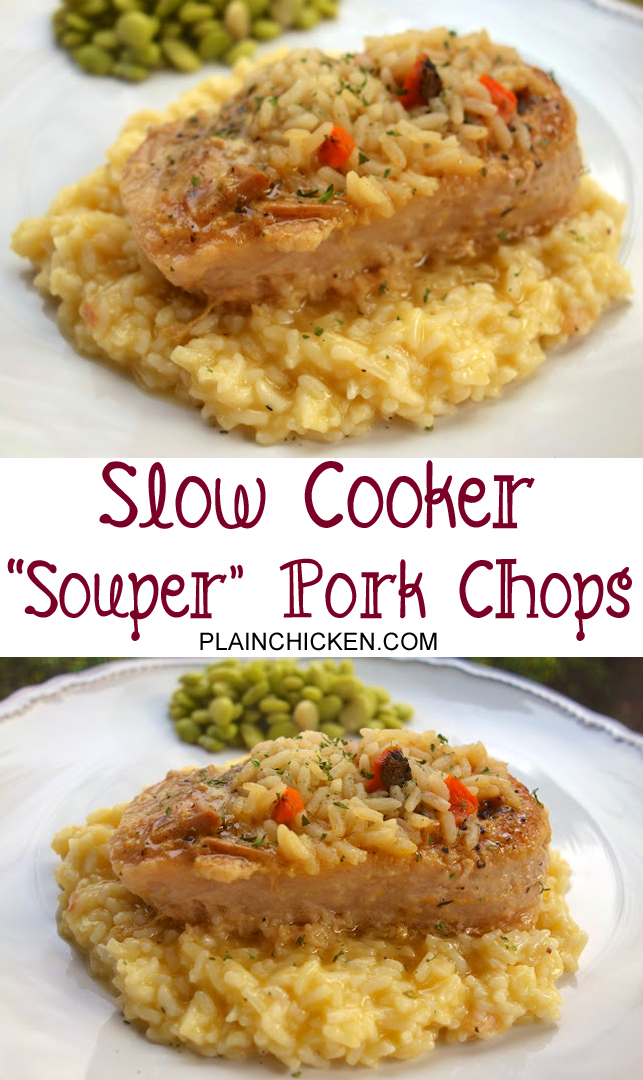Slow Cooker Souper Pork Chops - boneless pork chops slow cooked in dry mustard, salt, pepper, garlic powder and chicken and rice soup - serve over additional rice. Kids gobble this up! Super easy and super delicious!