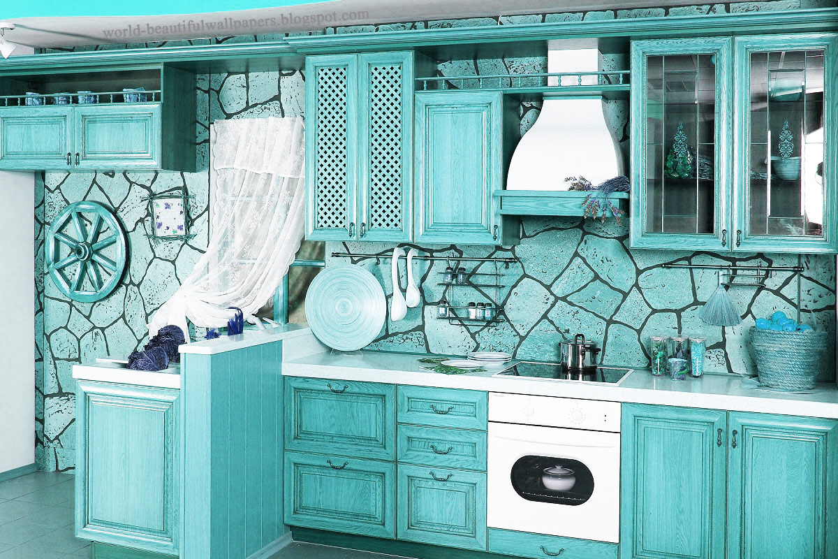 Beautiful wallpapers kitchen interior wallpaper for Kitchen wallpaper 3d