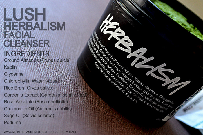 Lush Herbalism Facial Scrub Almond Clay Cleanser Organic Natural Oily Skincare Indian Beauty makeup Blog Reviews Ingredients How to Use