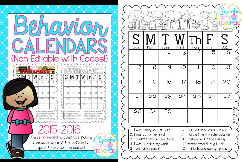 Behavior Calendars 2015-2016 {Makeover Madness!} - A Cupcake for the ...