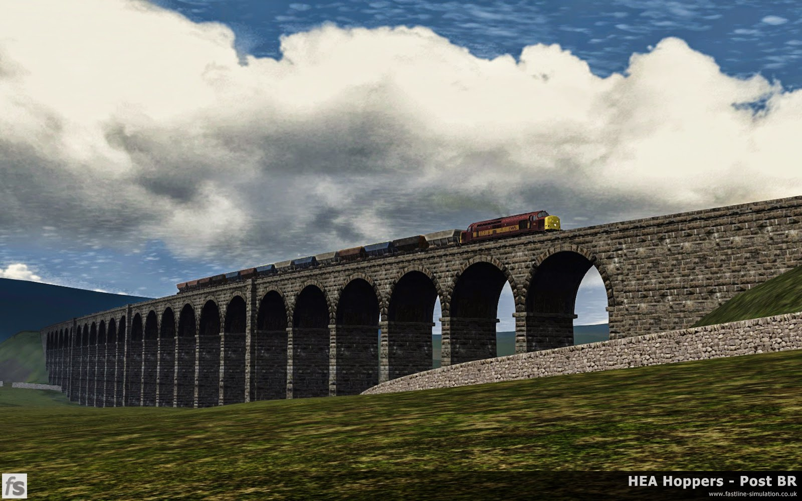 HEA Hoppers - Post BR: Class 37/7 37718 hauls a rake of HEA hoppers recently removed from store in assorted liveries over Ribblehead viaduct on their way to be converted into MEA mineral wagons.