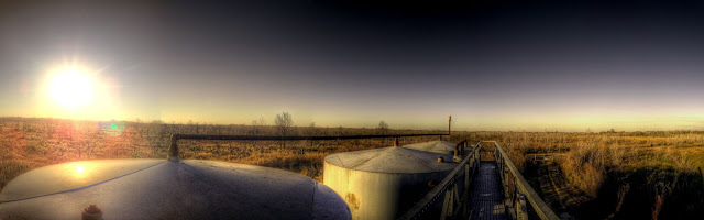 Top of tanks at pumping station - George Bush Park - Houston, Texas - HDR - Panoramic