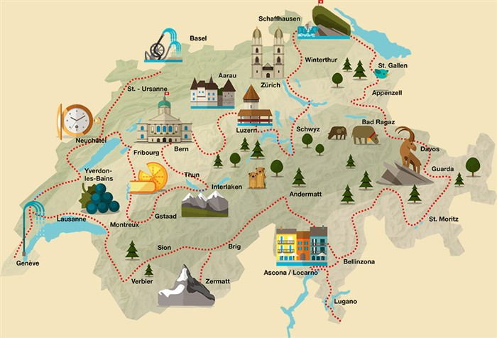 Swiss Made Grand Tour of Switzerland an Epic Road Trip with NDTV – Tourist Map of Switzerland