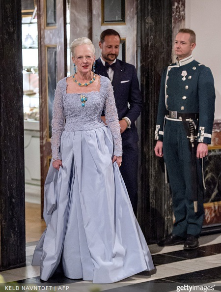 Danish Queen Margrethe arrives for the dinner at Fredensborg Palace on the occasion of her 75th birthday