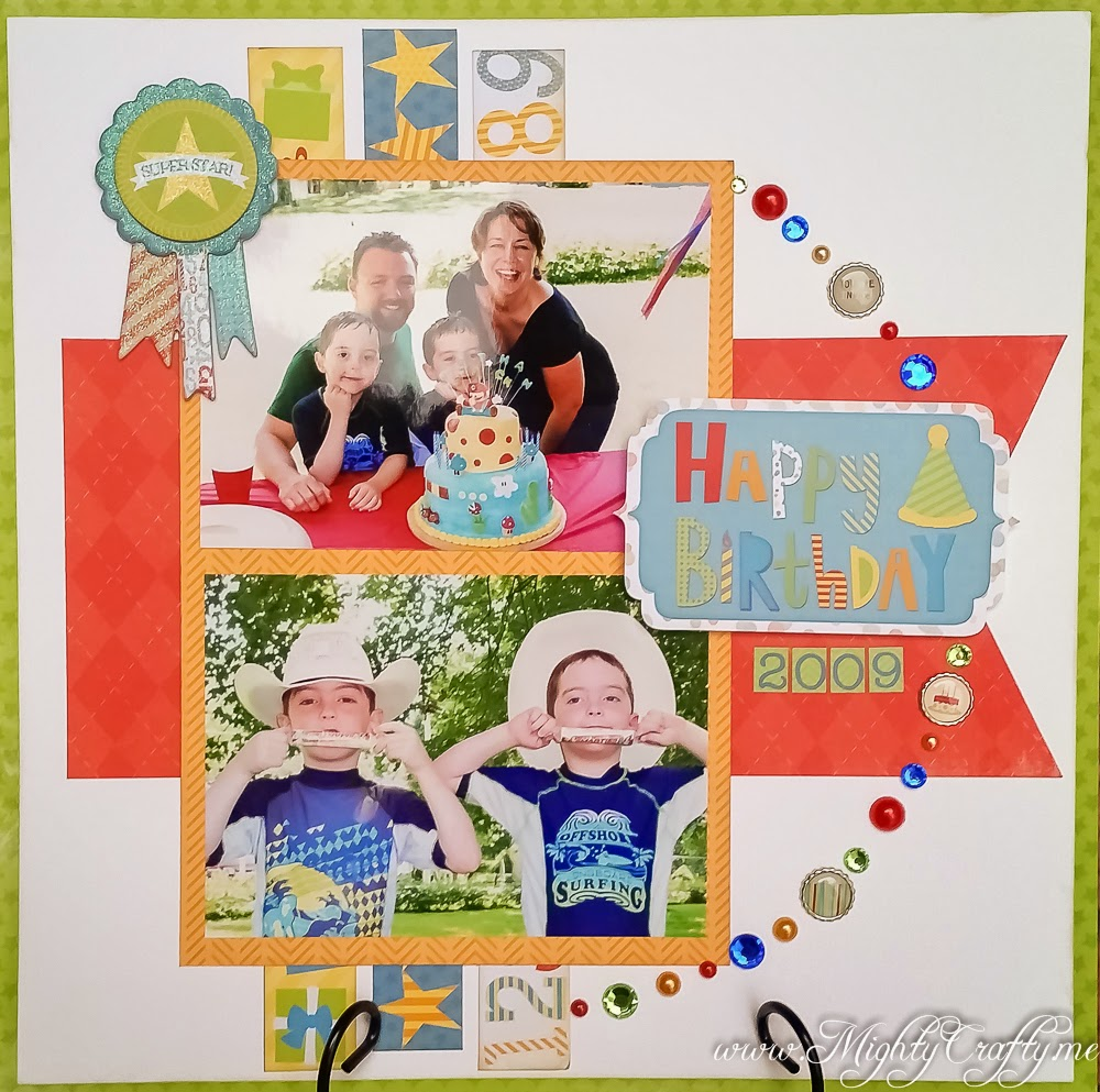 Happy Birthday layout for Sketch N Scrap -- www.MightyCrafty.me