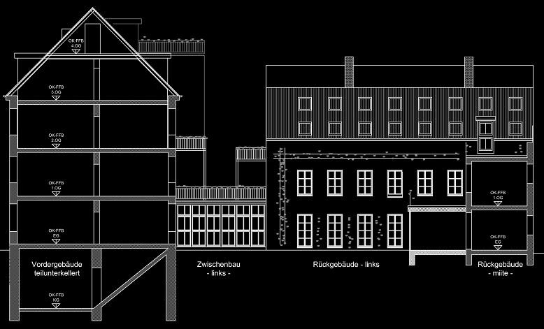 Schnitt Vordergebäude - Ansicht Rückgebäude links (05-2012)