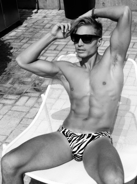 Jason Boyce in zebra print speedo by Scott Hoover