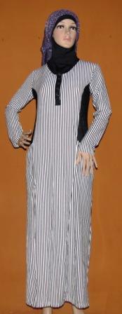 Gamis hitam putih gkm4543 grosir baju muslim murah tanah Baju gamis putih murah