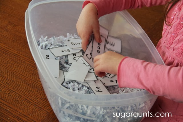 Shredded paper makes a great sensory bin filler for kids' sensory bin activities.