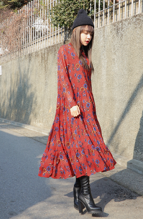 Long Sleeved Gathered Dress
