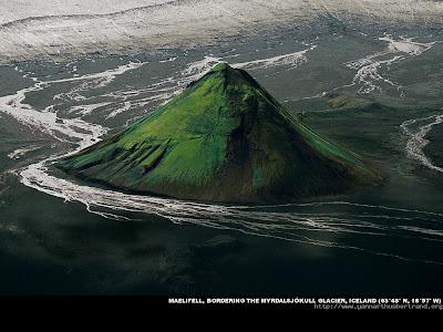 Maelifell bordering the Myrdalsjokull Glacier , Iceland
