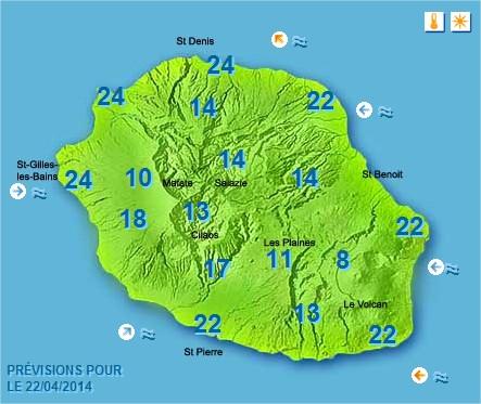Prévisions météo Réunion pour le Mardi 22/04/14