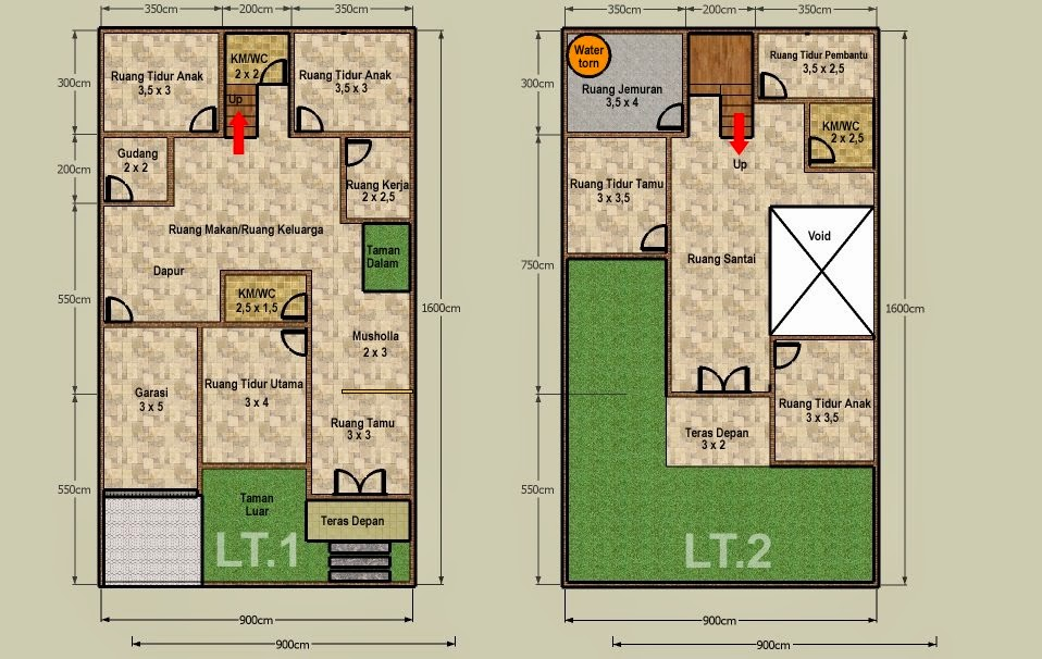 desain rumah tanah 60