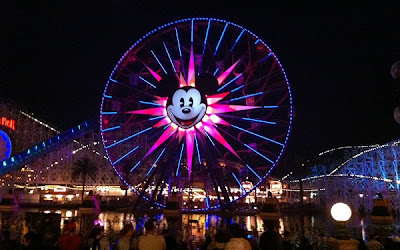 Mickey's Fun Wheel night Paradise Pier