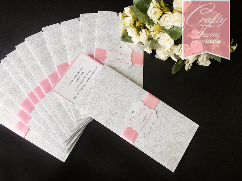 Wedding card malaysia crafty farms handmade soft pink ribbon simple pink wedding pocket card design stopboris Choice Image