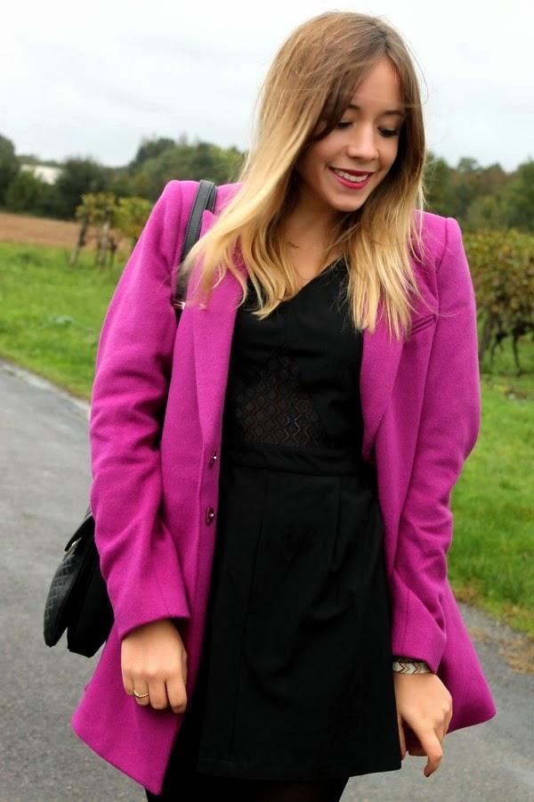 Manteau violet automne DDP