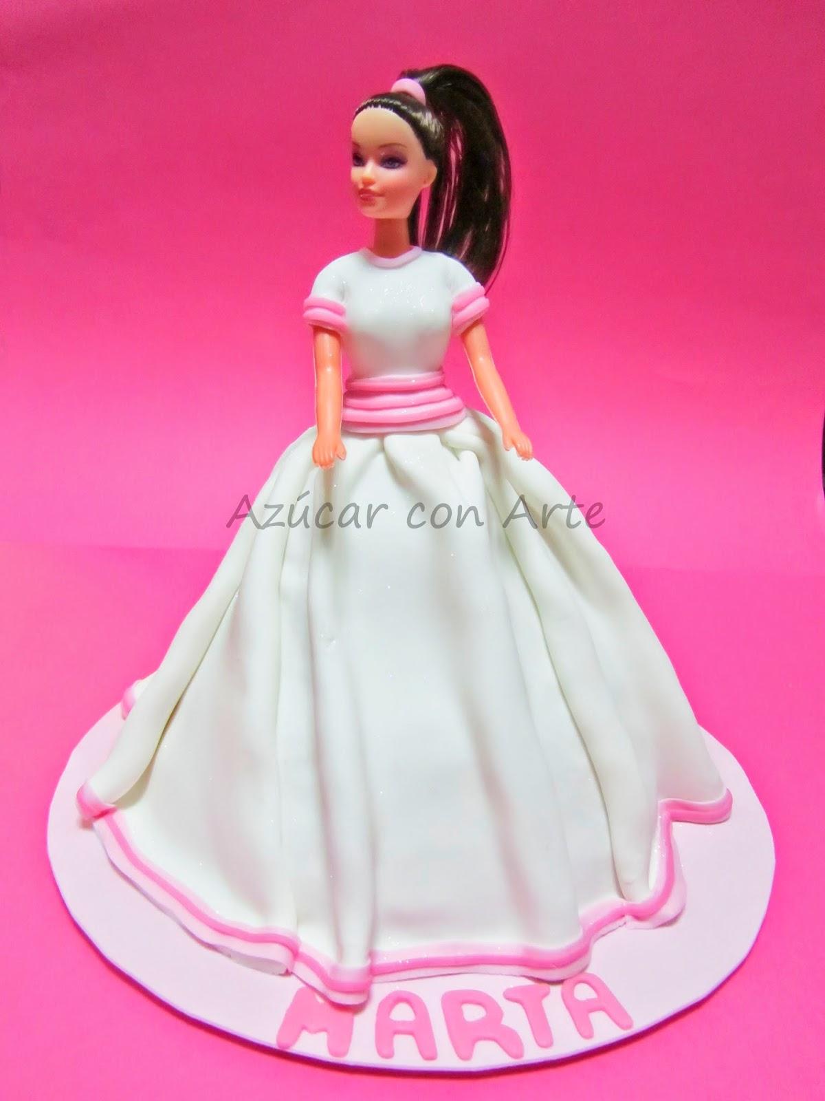 tarta barbie,tarta princesa, tarta comunión, barbie cake, princess cake, tarta sin gluten, gluten free cake | azucar con arte
