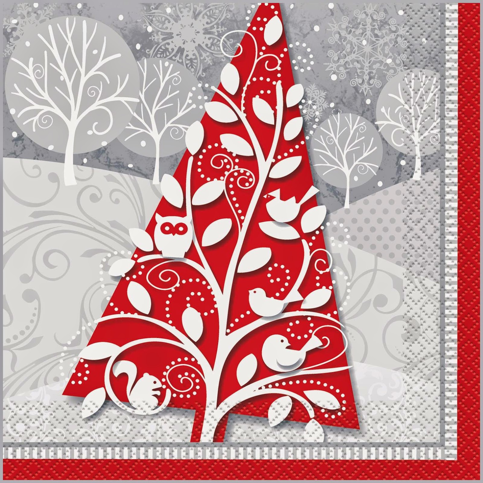 Frosted Holiday Lunch Napkins