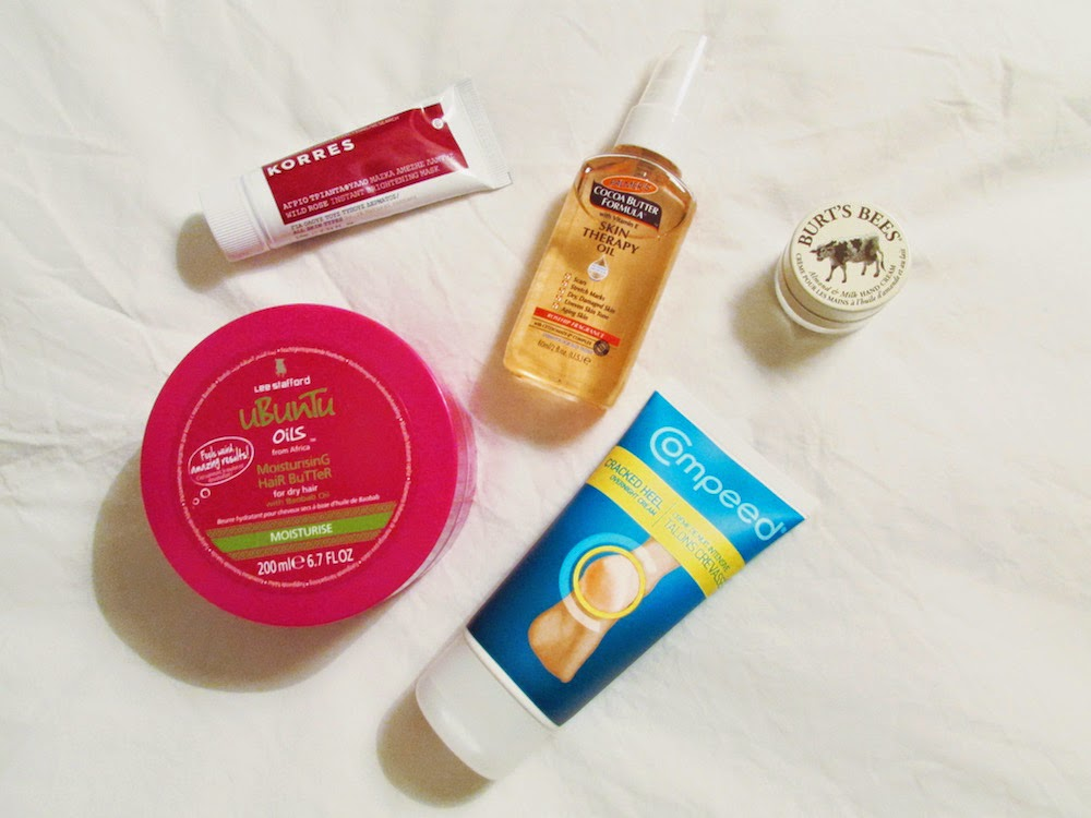 korres lee stafford cocoa butter formula compeed burts bees review